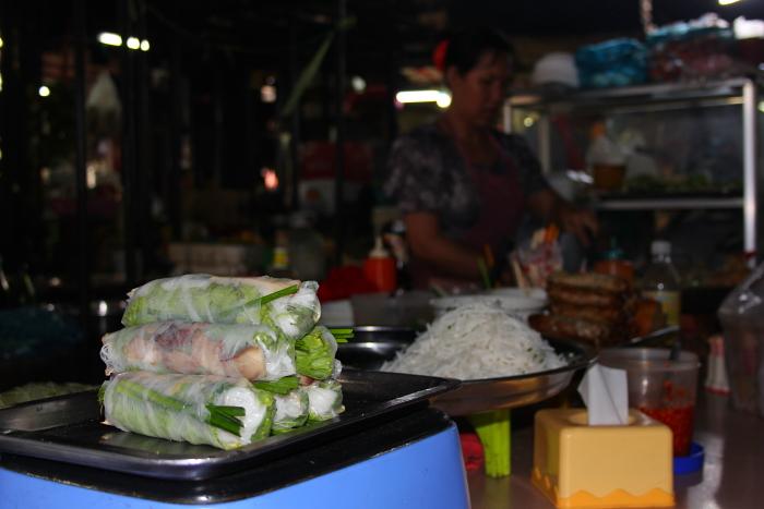 Spring rolls at Russian Market in Phnom Penh, Cambodia