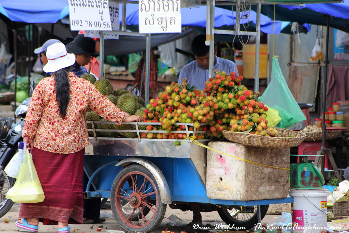 Fruit cart at the central market in Battambang, Cambodia