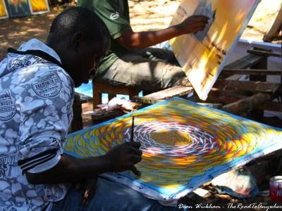 A Tinga Tinga Artist in Mto wa Mbu, Tanzania
