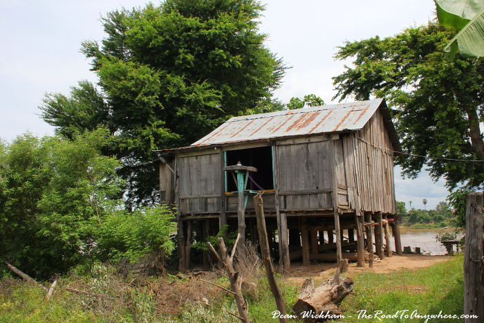 A wooden house on Koh Trong, Cambodia