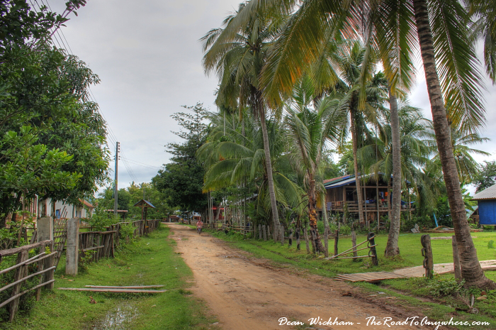 Main road in Don Khone in Si Phan Don, Laos