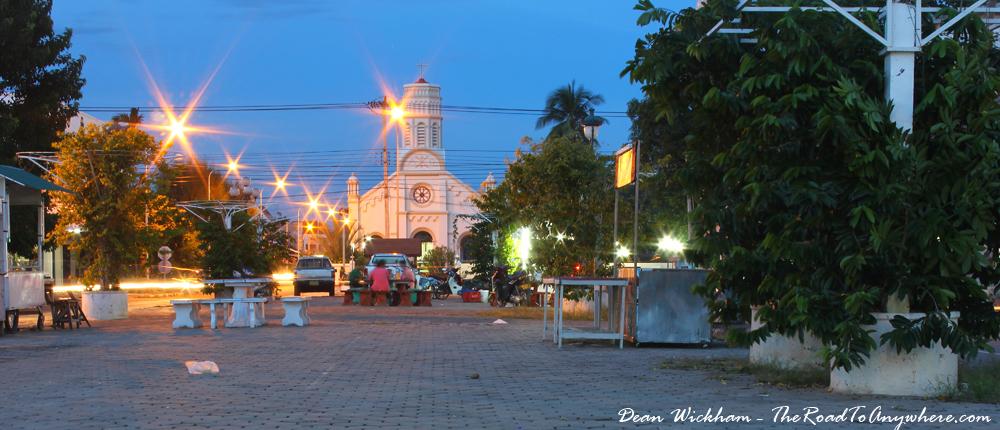 Plaza at night in Savannakhet, Laos