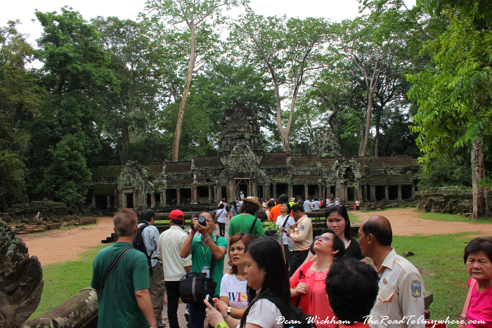Crowded entrance at Ta Phrom in Angkor, Cambodia