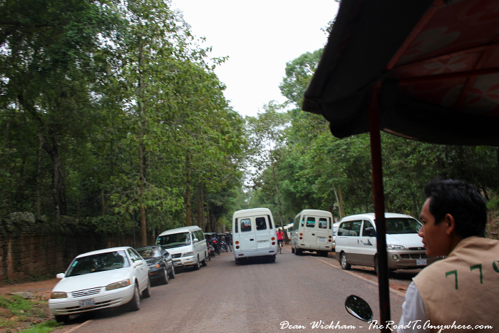 Crowded parking lot at Ta Phrom in Angkor, Cambodia