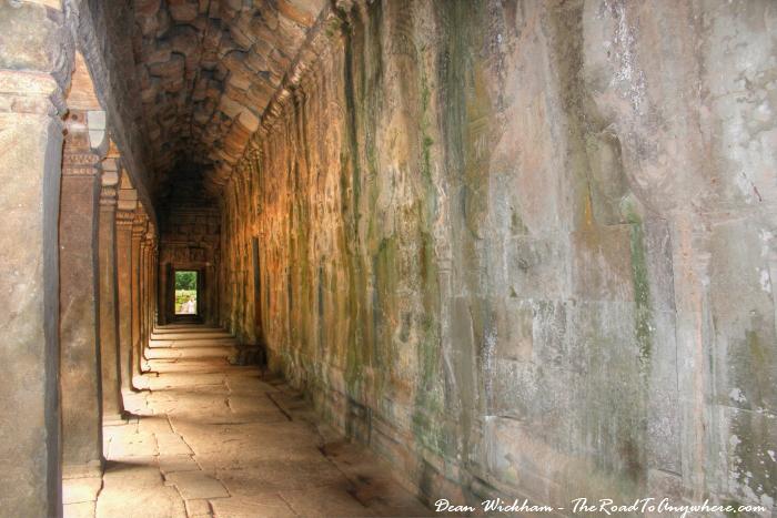 Quiet hallway in Ta Phrom in Angkor, Cambodia