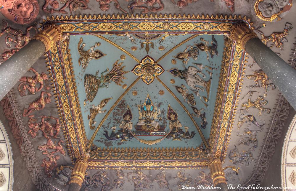Ceiling art at Patuxai in Vientiane, Laos