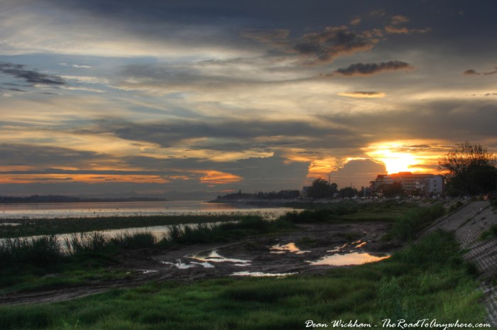 Sunset on the Mekong River in Vientiane, Laos