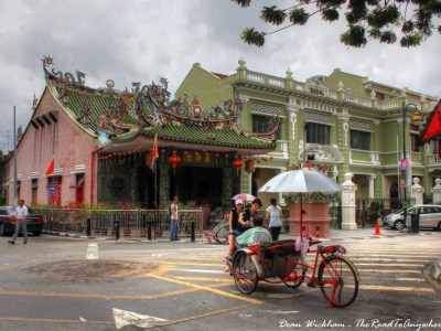 A Trishaw outside a Chinese Temple in George Town, Malaysia