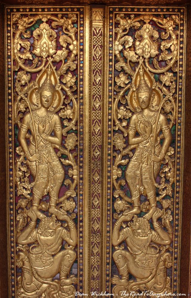 Ornate doors at Wat Sensoukharam in Luang Prabang, Laos