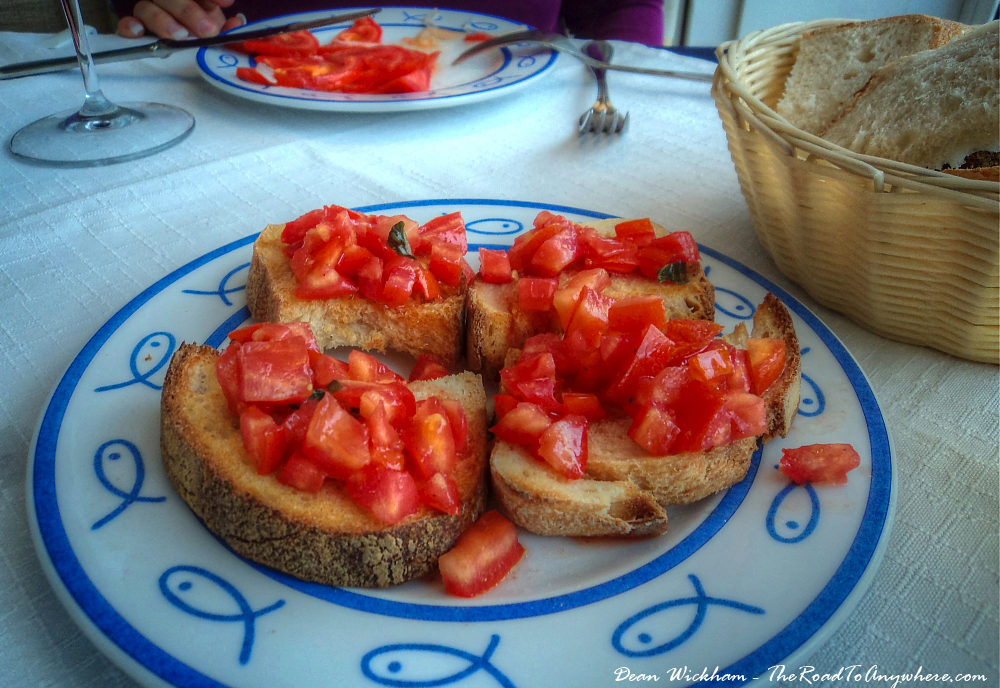 Tomato and Basil Bruchette in Sorrento, Italy