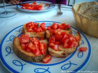 Tomato and Basil Bruchette in Sorrento, Italy