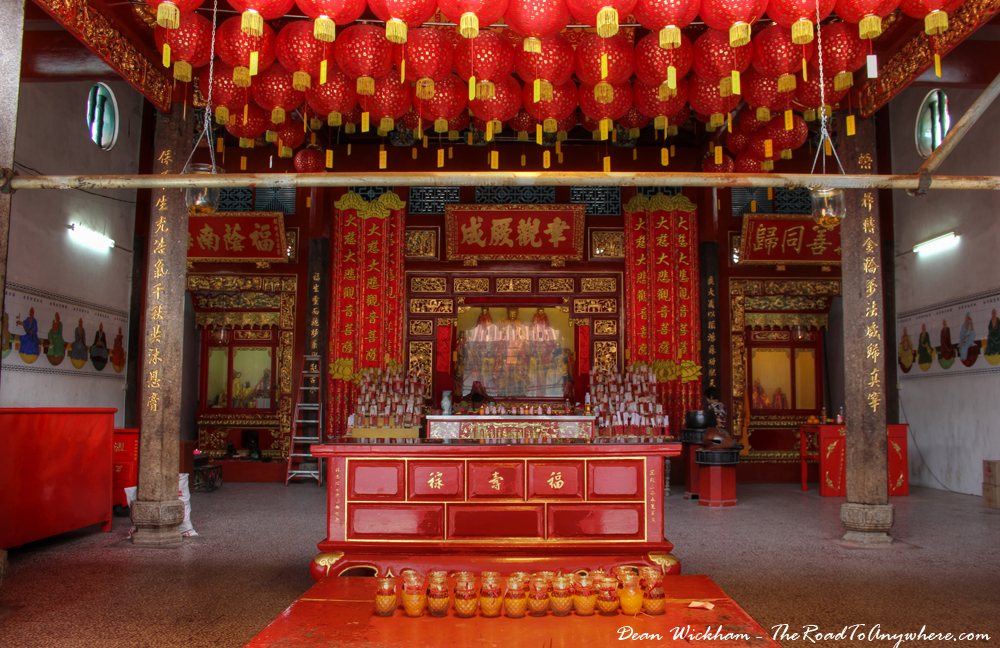 Shrine inside the Goddess of Mercy Temple in Chinatown, Penang, Malaysia