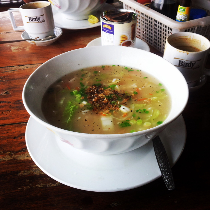 Rice soup for breakfast in Si Phan Don, Laos