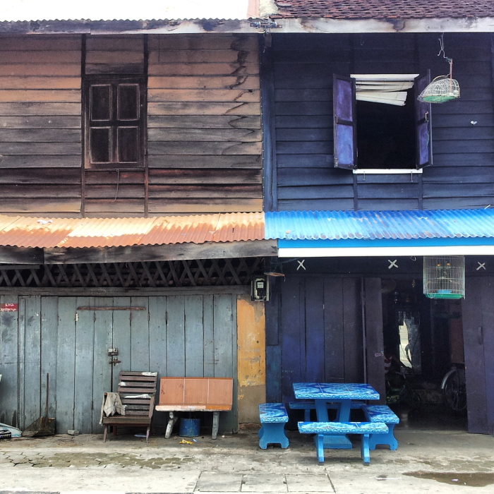 Old wooden buildings in Savannakhet, Laos