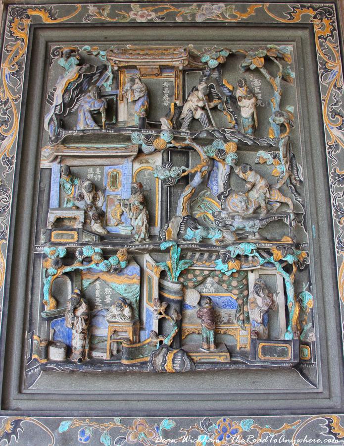 Wall carvings at Khoo Kongsi Clanhouse in George Town, Penang, Malaysia