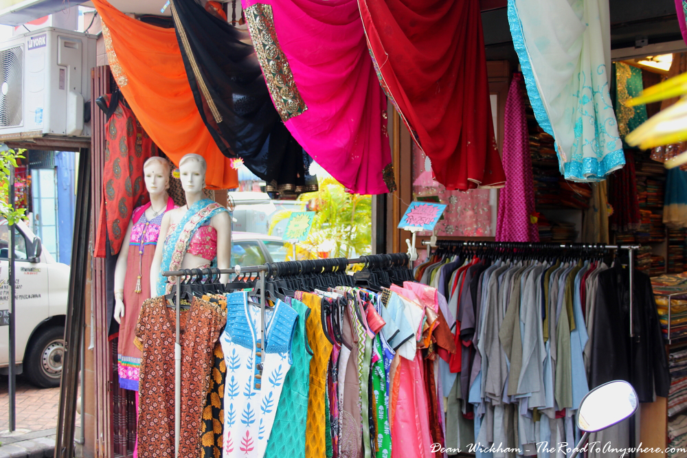 Colourful clothes in a shop in Little India in George Town, Penang, Malaysia