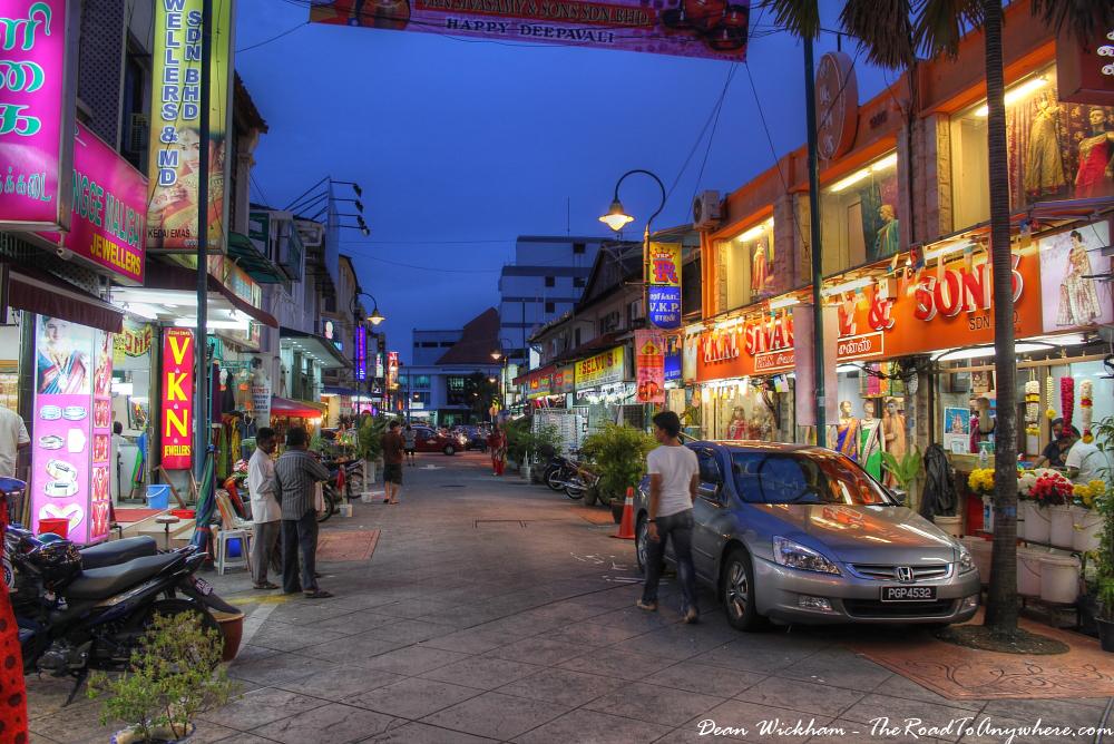 Night street scene in Little India in George Town, Penang, Malaysia