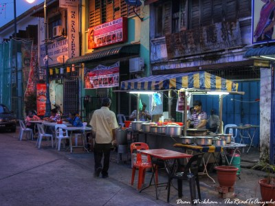 Street side restaurant in Little India in George Town, Penang, Malaysia