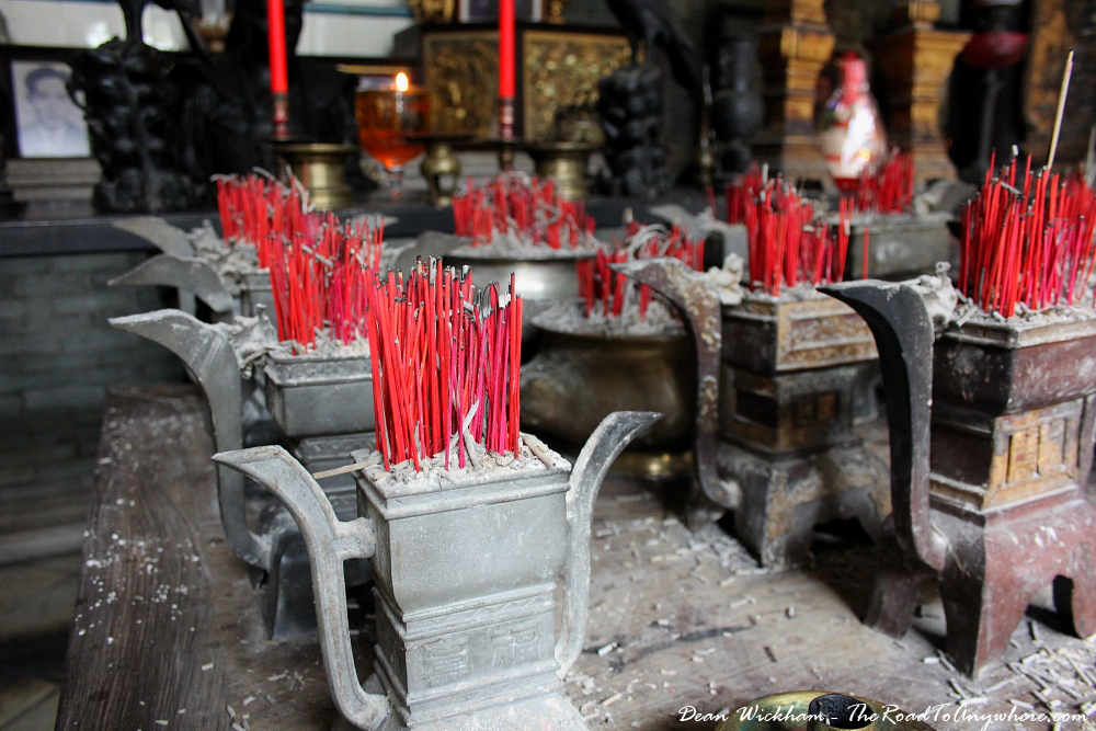 Incense inside the temple at Pinang Peranakan Mansion in George Town, Malaysia
