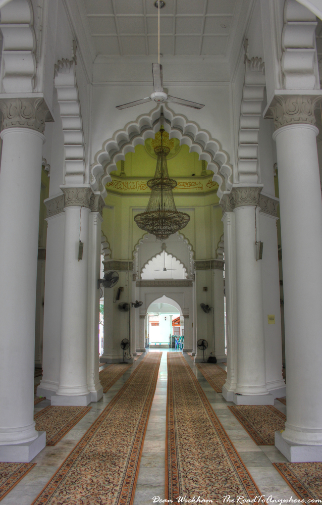Arches and Columns inside Kapitan Keling Mosque in George Town, Malaysia