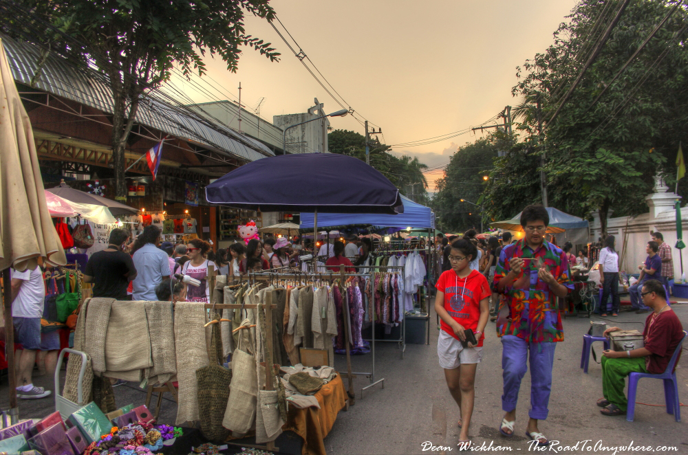 Clothes stalls at the Sunday Market in Chiang Mai, Thailand
