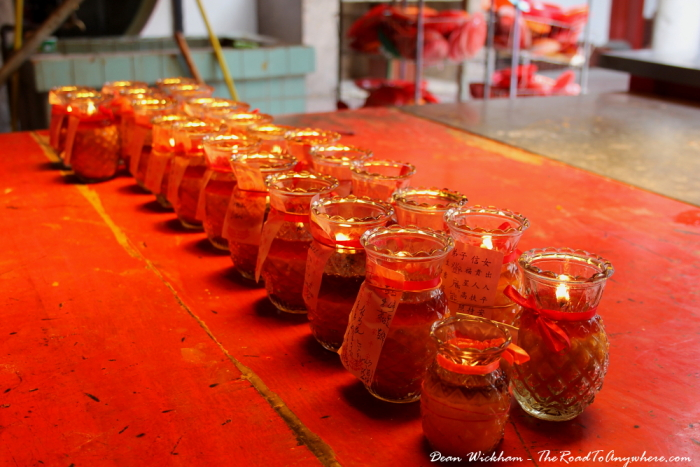 Candles inside Goddess of Mercy Temple in Penang, Malaysia