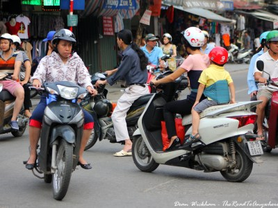 Motorbikes on the street in Hanoi, Vietnam