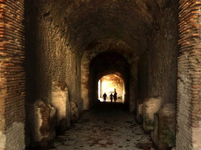 Tunnel into the arena in Pompeii, Italy