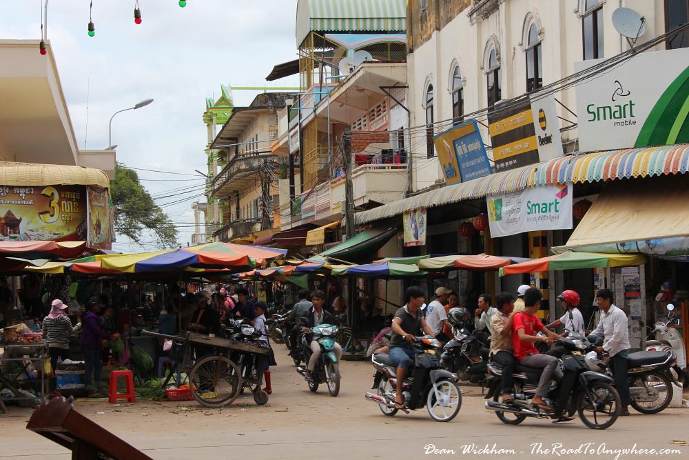 A busy market in Kratie, Cambodia