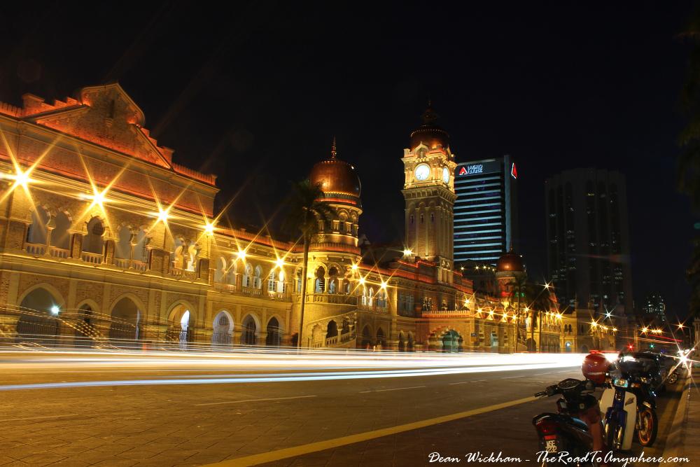 Sultan Abdul Samad building at night at Merdeka Square in Kuala Lumpur, Malaysia