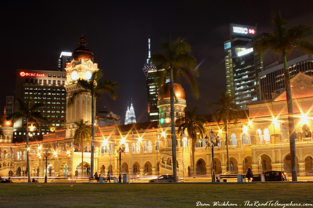 Sultan Abdul Samad at Merdeka Square in Kuala Lumpur, Malaysia and Petronas Towers