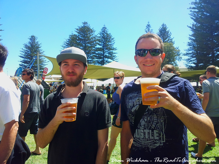 Having a beer at the Fremantle Chilli Festival in Fremantle, Western Australia