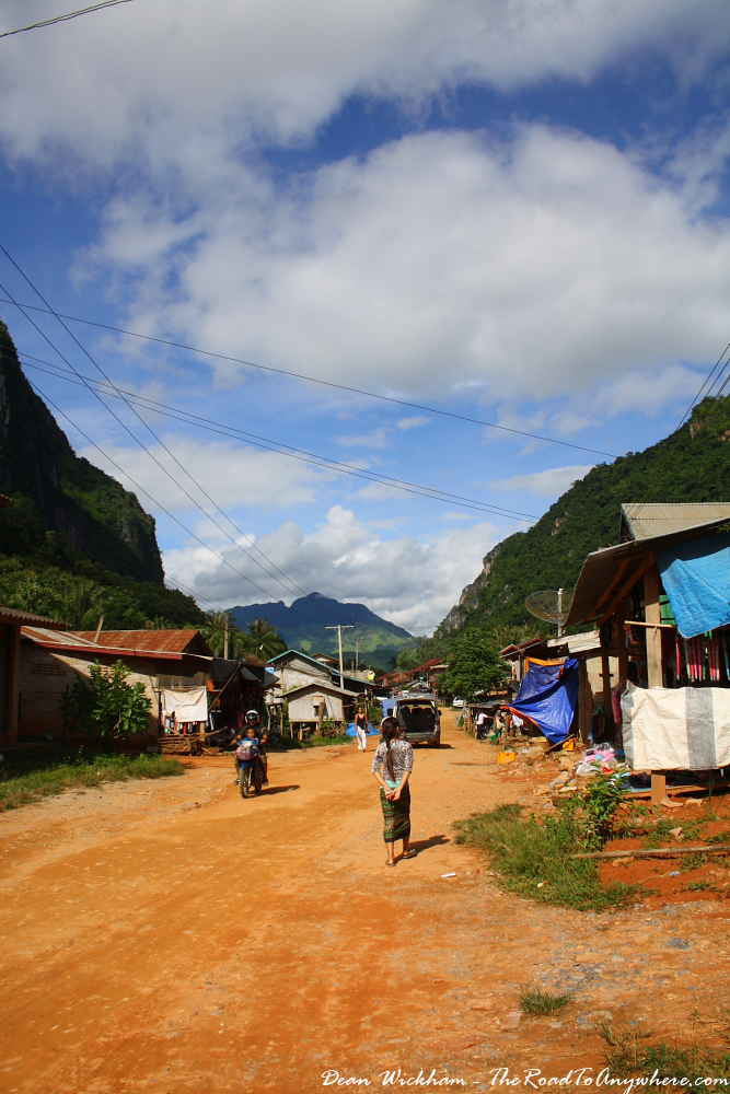 Main street in Nong Khiaw, Laos