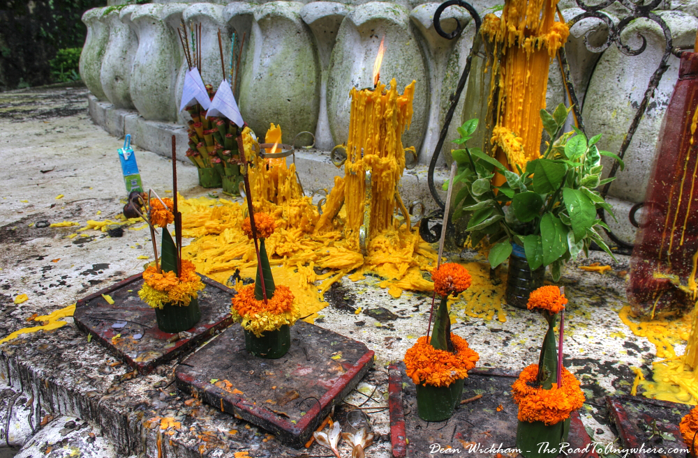 Buddhist offerings at Phou Si in Luang Prabang, Laos