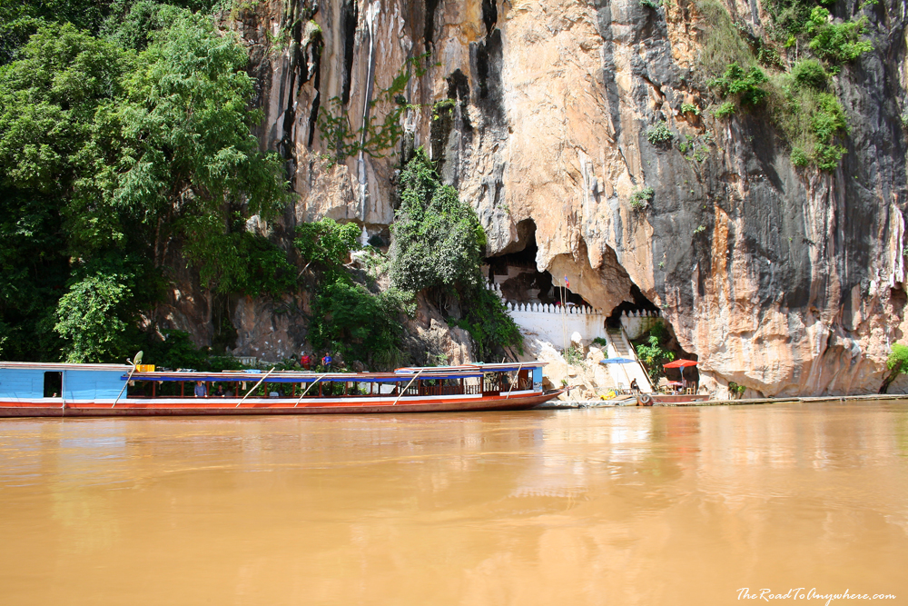 A boat at Pak Ou Caves in Laos