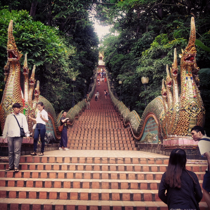 Stairs leading up to Wat Doi Suthep in Chiang Mai, Thailand