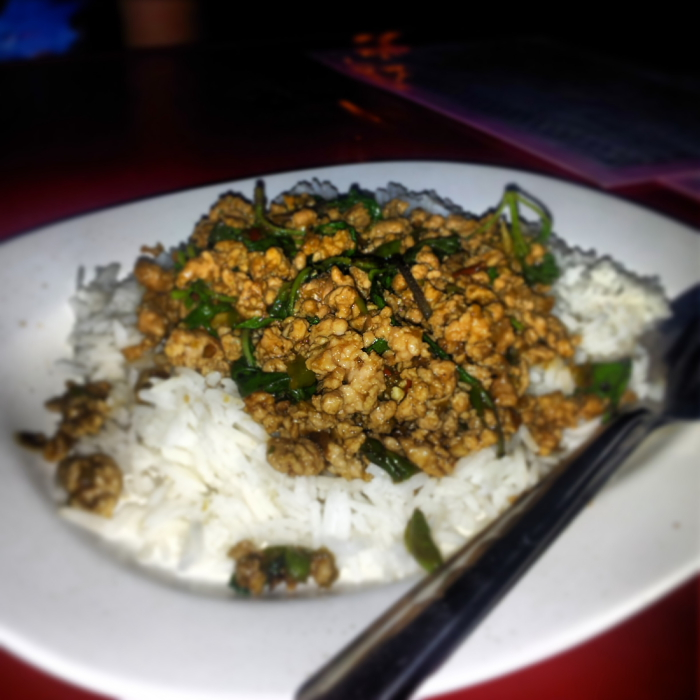 Pad Krapow Moo for dinner in Chiang Mai, Thailand