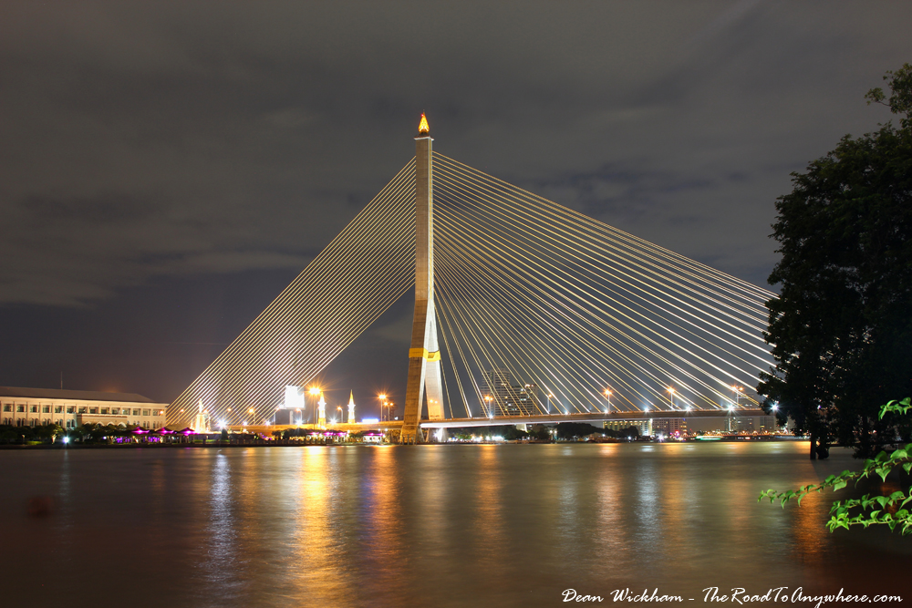 Rama VIII Bridge at night in Bangkok, Thailand