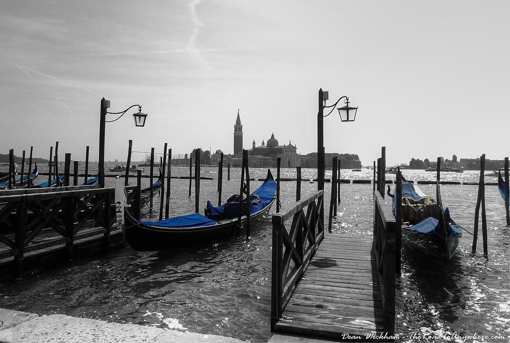 Gondolas and a view to San Giorgio Maggiore in Venice, Italy
