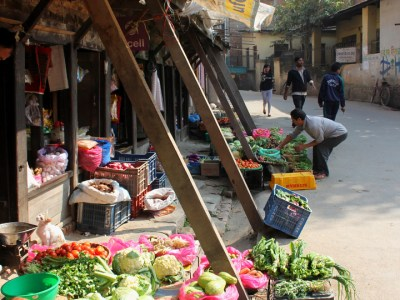 Vegetables for sale on a street in Kathmandu, Nepal