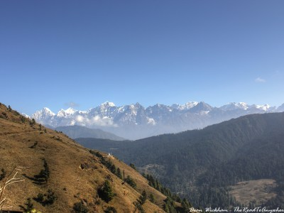 View of the high Himalaya in Phurteng, Nepal