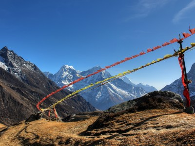 Prayer flags above Machhermo in Nepal