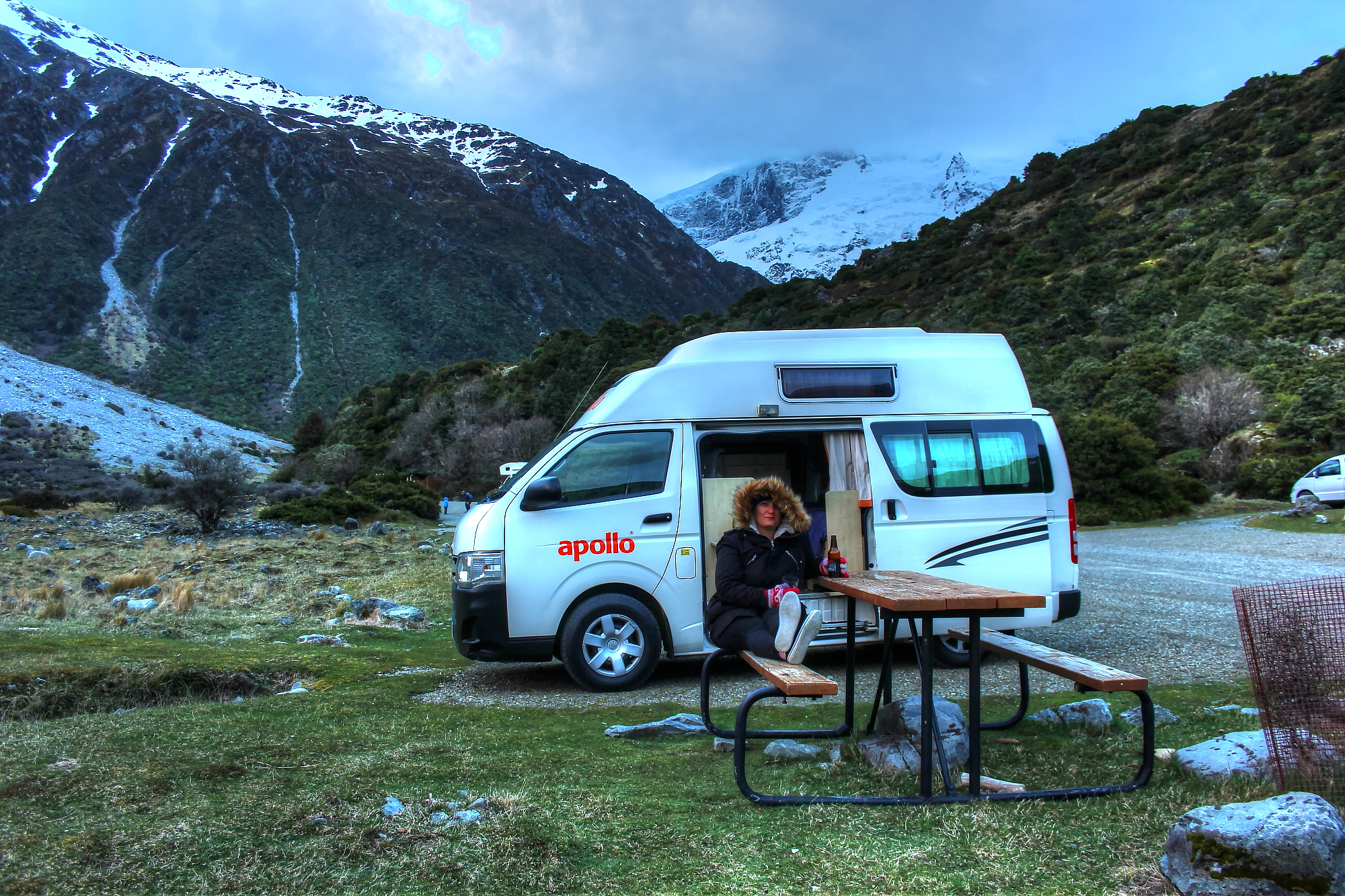 Camping at White Horse Campground in Mount Cook. New Zealand