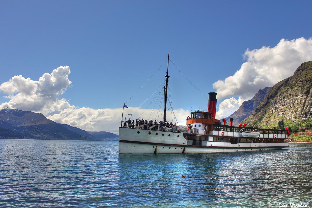 Steam ship on Lake Wakatipu, Queenstown, new Zealand