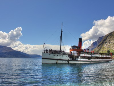 Steam ship on Lake Wakatipu, Queenstown, new Zealand