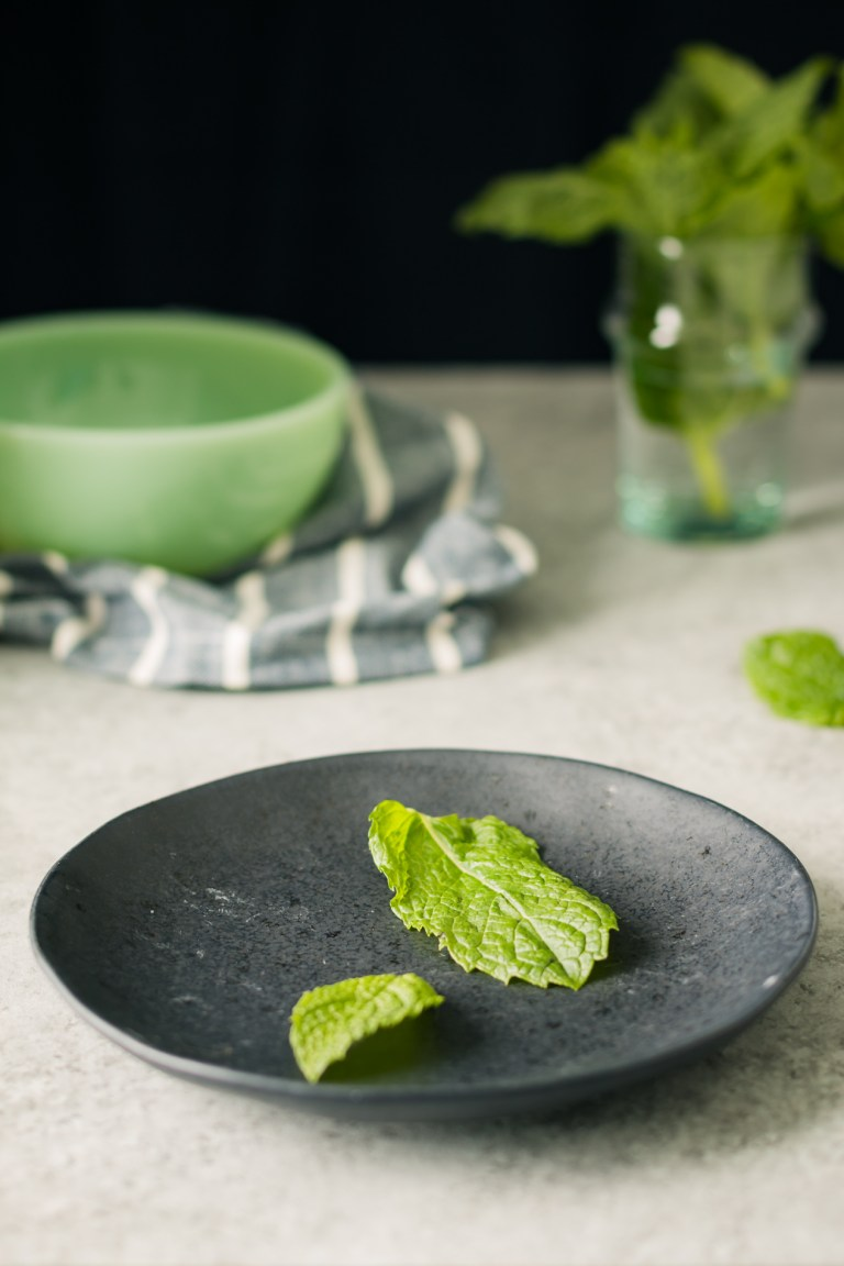 Making Candied Mint for Chocolate Bourbon Pie with Mint, a Brown Sugar Pecan Crust & Candied Mint Leaves