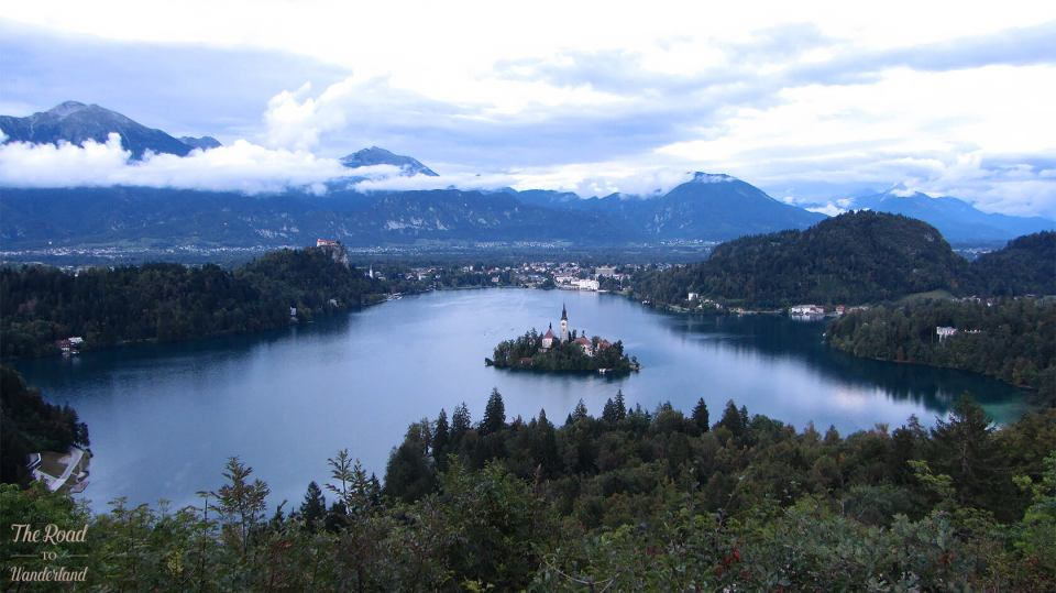 Stunning view over Lake Bled from the viewpoint at Ojstrica