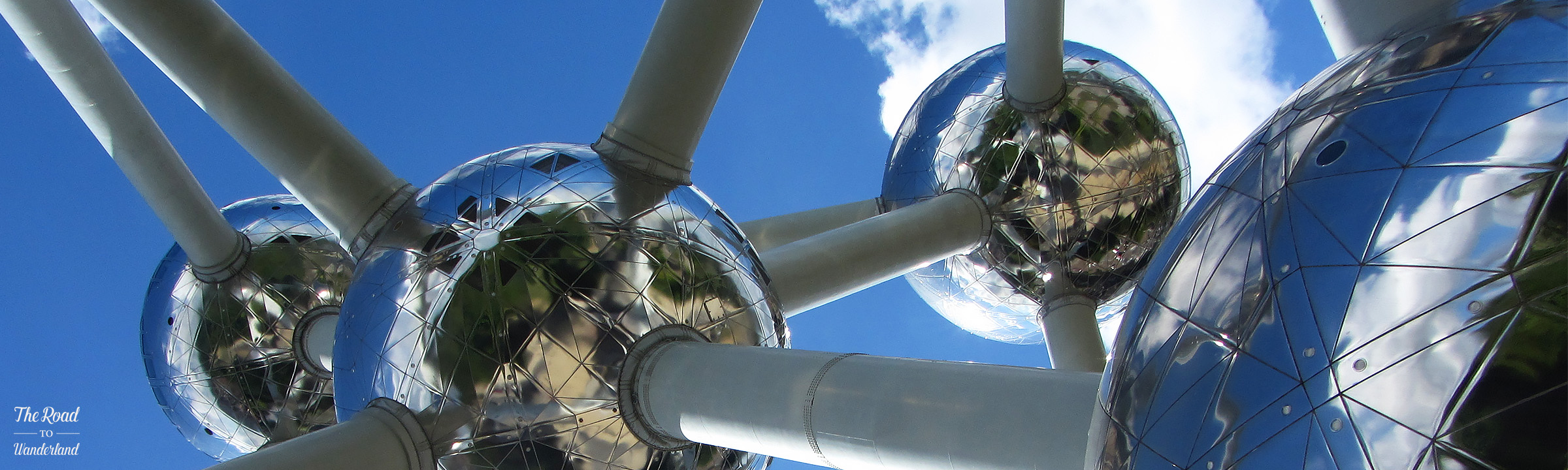 Angled shot of Atomium from beneath