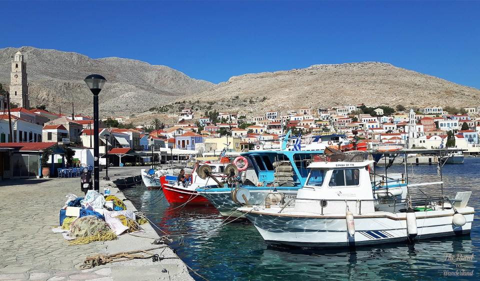Halki fishing boats and the silent clock tower