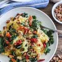 Roasted Garlic and Kale Spaghetti Squash with Sun-Dried Tomatoes